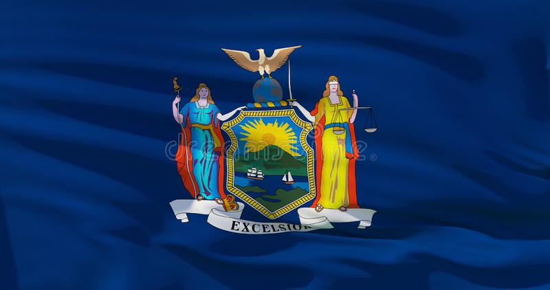 Close up shot of wavy New York state flag vector illustration