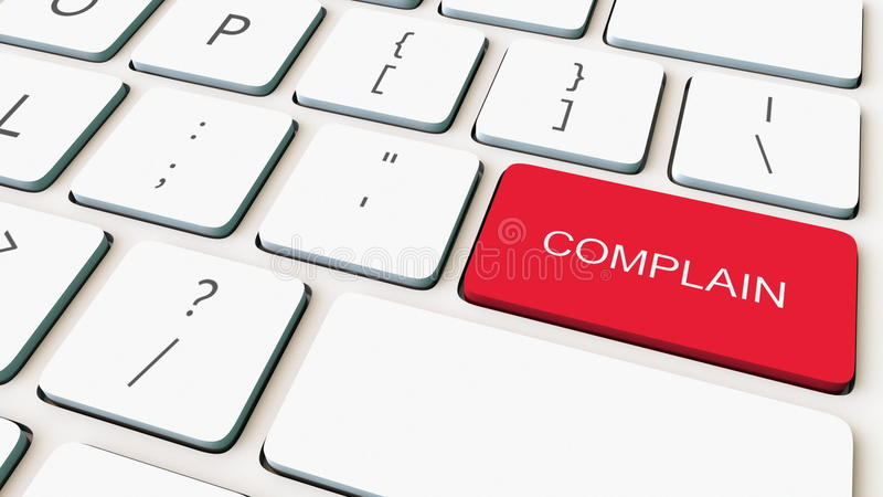 Close-up shot of white computer keyboard and red complain key. Conceptual 3D rendering. Dolly shot of white computer keyboard and red complain key. 3D royalty free illustration
