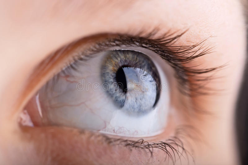 Close up shot of a womans eye. With shallow DOF stock image