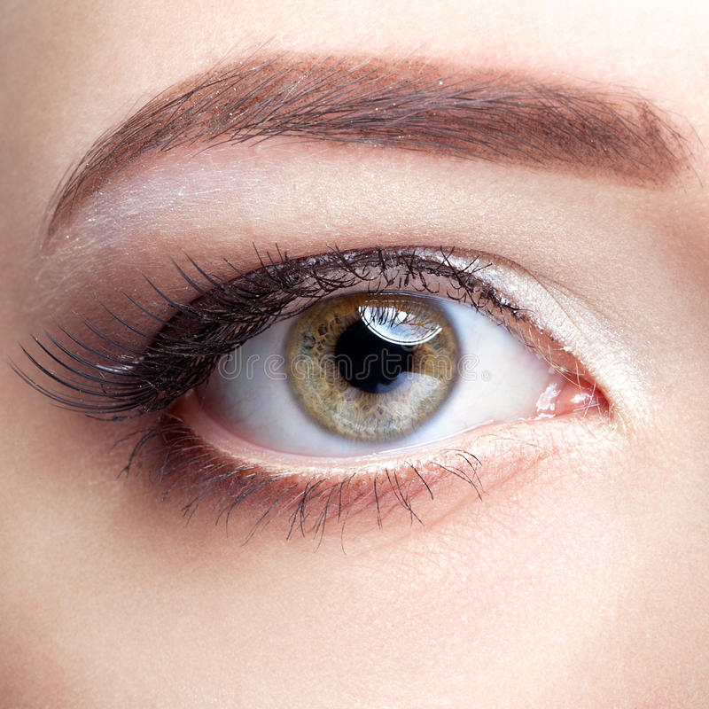 Close-up shot of young woman eye with day make up stock photography