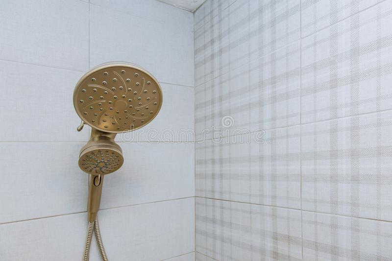 Shower head cubicle in the modern bathroom stock image