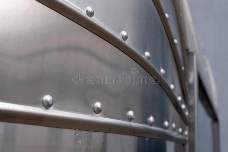 Close up showing the detail on a classic Airstream catering trailer, photographed at the Tytano tobacco factory in Krakow, Poland. Close up showing the detail on royalty free stock photos