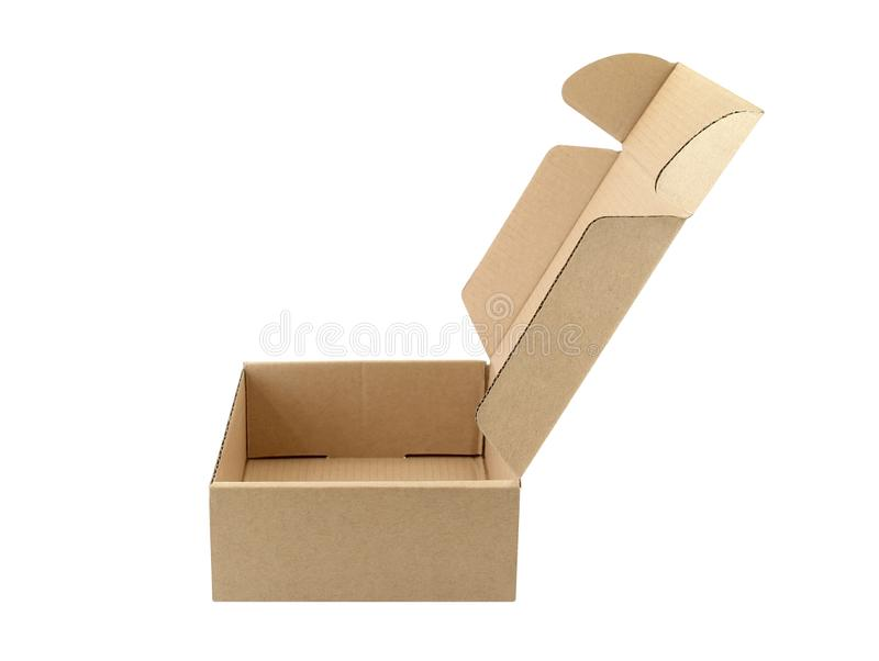 Close-up side of empty carton box open isolated on white background. Side of empty carton box open isolated on white background, single brown parcel cardboard royalty free stock photo