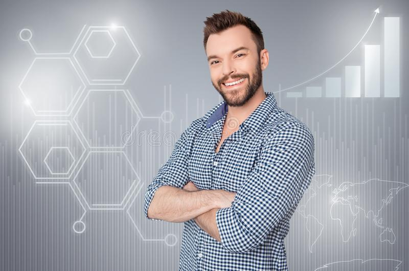 Close up side profile creative design stylized graphic virtual poster photo confident he him his business guy social. Marketing futuristic pattern wear shirt royalty free stock photography