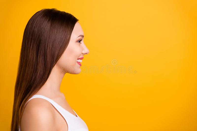 Close up side profile photo beautiful amazing she her lady ideal perfect appearance teeth lips kind easy-going listen. Close up side profile photo beautiful royalty free stock image