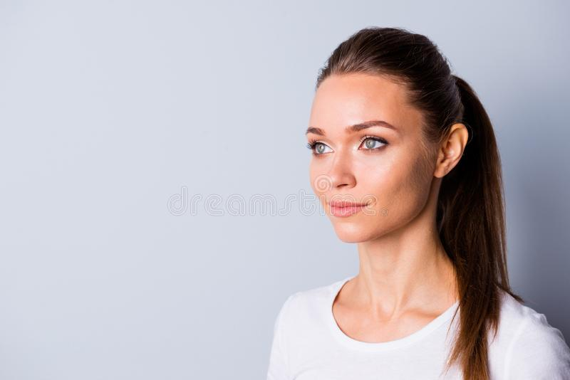 Close up side profile photo beautiful amazing she her lady perfect ideal appearance look empty space imaginary flight. Listen good news wear casual white t stock photos