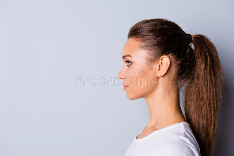 Close up side profile photo beautiful amazing she her lady perfect ideal appearance look empty space imaginary flight. Listen good news wear casual white t royalty free stock photo
