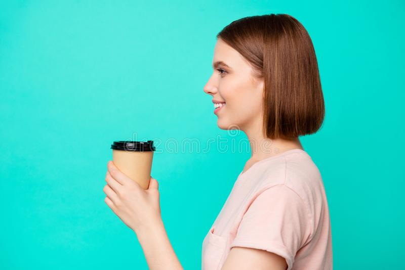 Close up side profile photo beautiful her she lady cute hold arm paper hot beverage best way wakeup awaking favorite. Americano latte boyfriend wear casual t stock photography