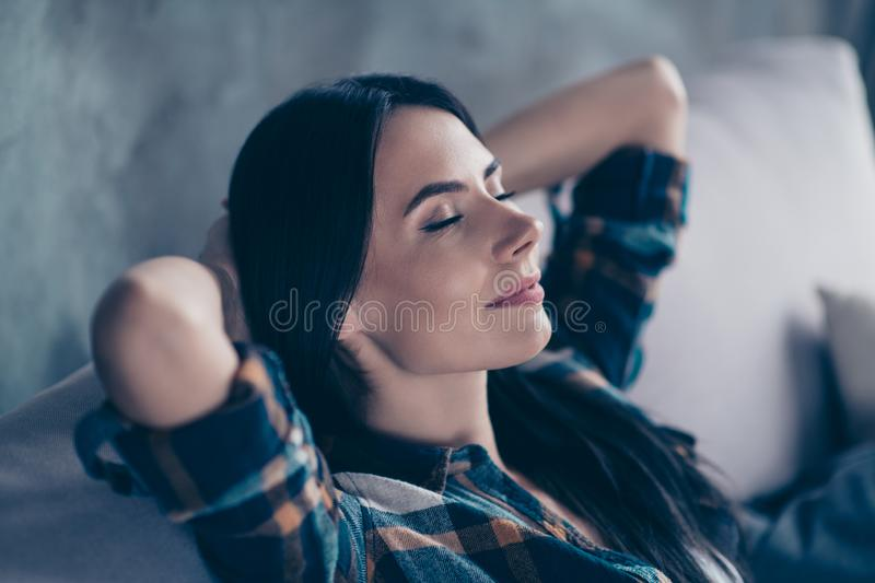 Close up side profile photo beautiful she her lady hands arms behind head eyes closed overjoyed imaginary flight calm royalty free stock photo