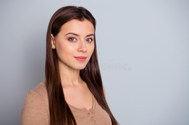 Close up side profile photo cool beautiful amazing she her lady ideal appearance self-confident silent kindhearted look stock photo