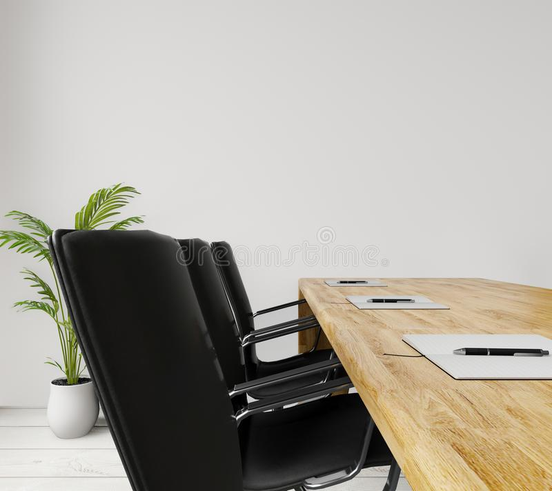 Close up side view empty meeting room with chairs, wooden table, concrete wall for copy space and mock up. Close up side view empty meeting room with chairs stock illustration