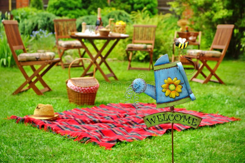 Close-Up Of Sign Welcome And Backyard Party Or Picnic Scene royalty free stock photos