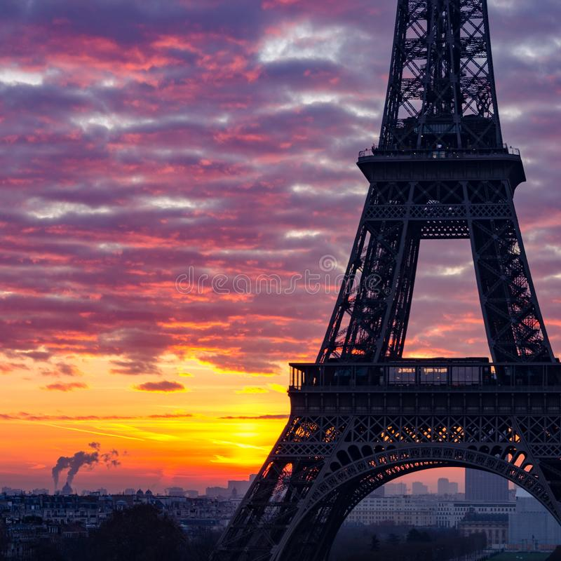 Close-up silhouette of the Eiffel Tower Paris during sunrise royalty free stock photos