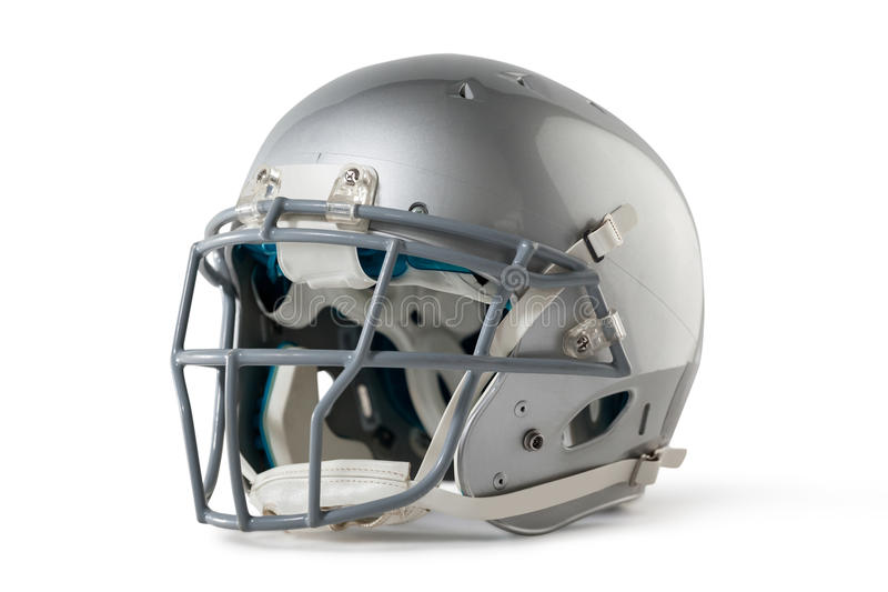 Close up of silver sports helmet. On white background royalty free stock images