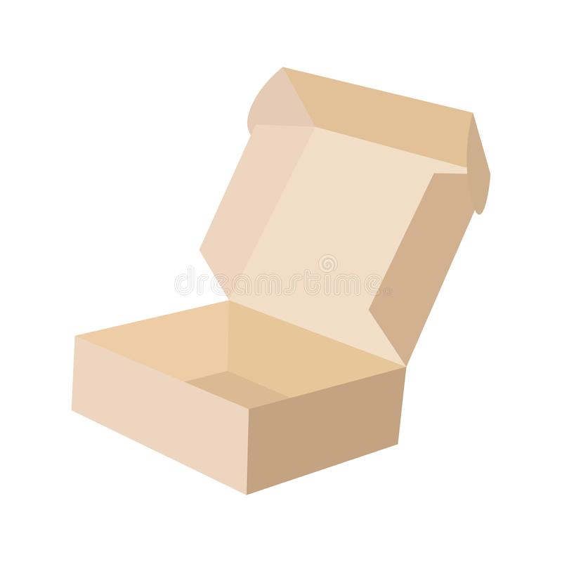 Close-up single carton box open empty isolated on white background, brown parcel cardboard box for packages delivery. Open box with lid isolated on white royalty free illustration