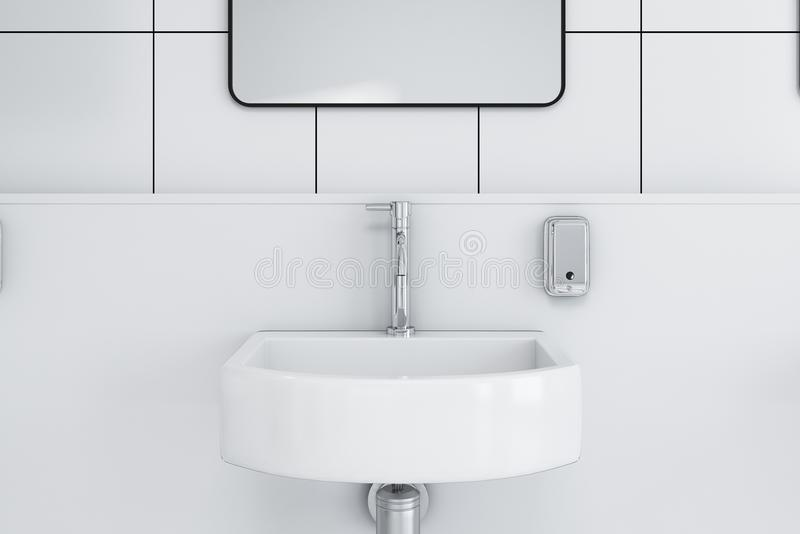 Close up of a sink in a public wc. Close up of a clean and neat sink in a public restroom with white tiled walls and a framed mirror above it. 3d rendering royalty free illustration
