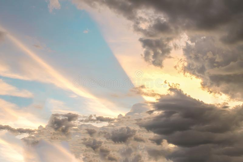 Sky background nature in the evening with sunset light royalty free stock image