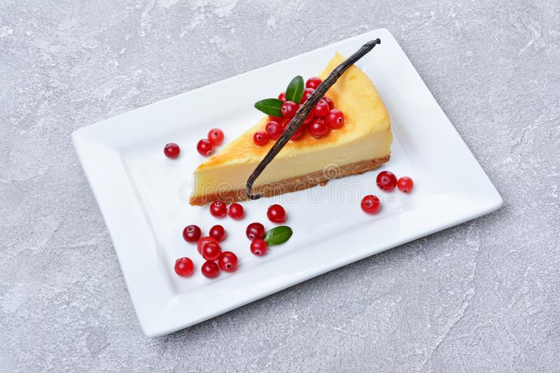 Close-up slice of delicious homemade cheesecake with fresh cranberries, caramel sauce and vanilla stick on gray concrete. Close-up slice of delicious homemade royalty free stock photography