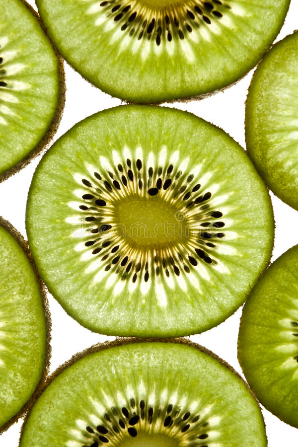 Close up of sliced pieces of kiwifruit royalty free stock photos