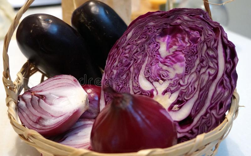 Purple cabbage and red onion. Close up of sliced purple cabbage and red onion royalty free stock photos