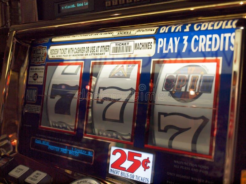 Close-up of slot machine. LAS VEGAS, NEVADA, USA - SEPTEMBER 10: Close-up of slot machine with a near hit of 7's in Casino on September 5, 2010 in Las Vegas stock photos