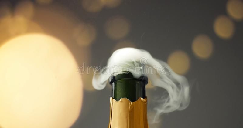 Opening a bottle of champagne royalty free stock image