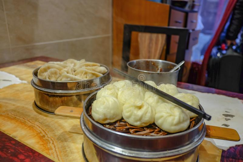 Close up Small Steam Buns in Chinese Restaurant. China royalty free stock photo