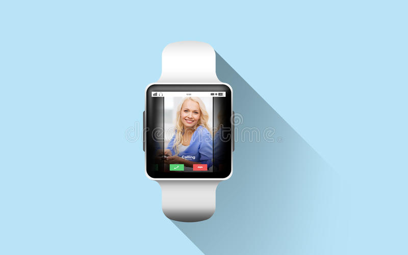 Close up of smart watch with incoming call. Modern technology, communication, object and media concept - close up of black smart watch with incoming call on stock photos