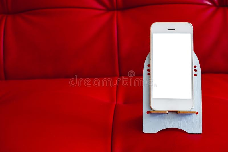 Close up of smartphone with white screen royalty free stock image