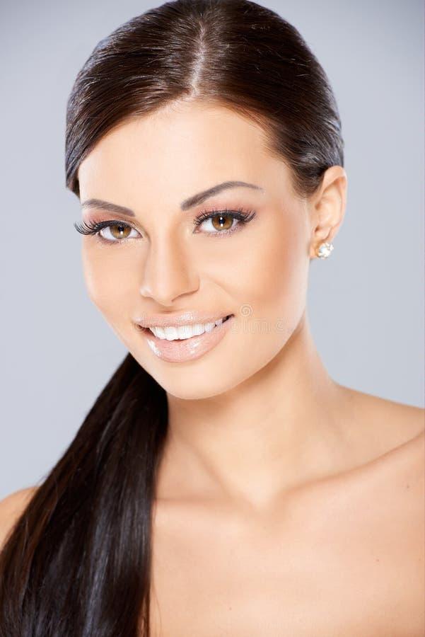 Close Up Of Smiling Beautiful Woman Stock Photo
