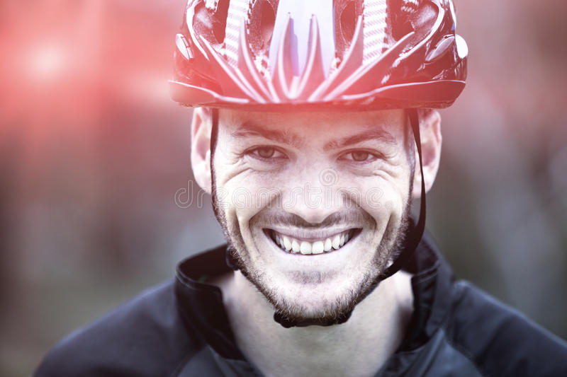Close-up of smiling male athletic in park royalty free stock images