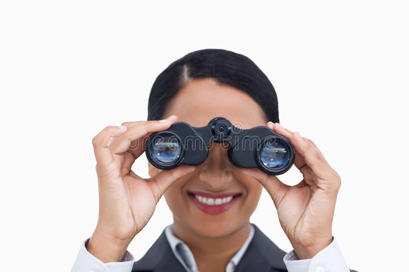 Download Close Up Of Smiling Saleswoman Using Spy Glasses Stock Photo - Image of lens, optical: 23014382