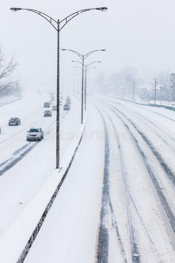 Close-up of Snowy Highway from Above royalty free stock photography