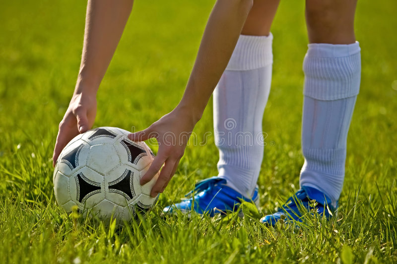 Close up of a soccer ball stock photo