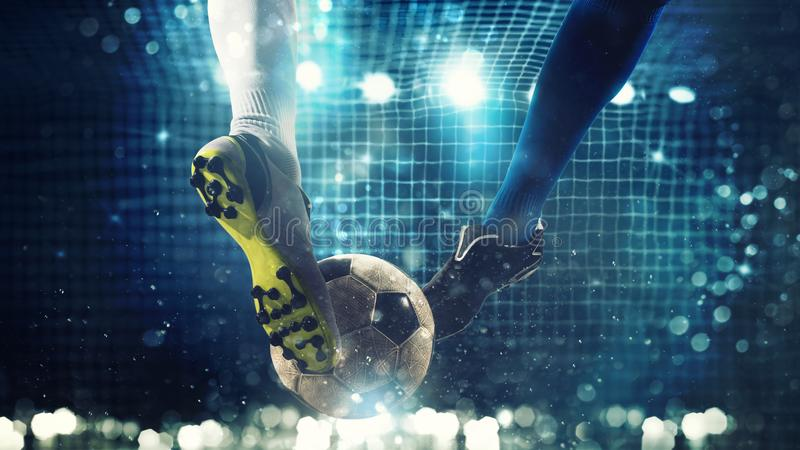 Close up of a soccer striker ready to kicks the ball in the football goal royalty free stock image