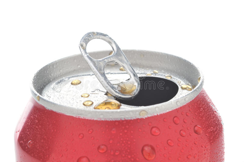Close Up of Soda Can. Close Up of a Red Soda Can with Pull Tab open with condensation royalty free stock images