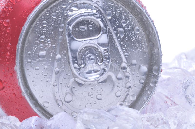 Close Up of Soda Can. Close Up of a Red Soda Can Top with Ice and Condensation white background copyspace stock photo