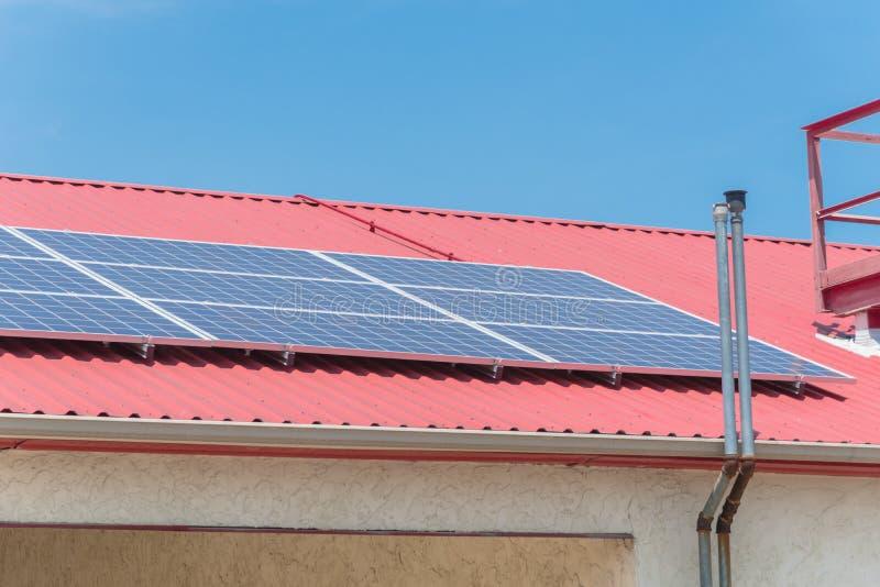 Solar Panels On Steel Roof Floor Of Commercial Building In Texas
