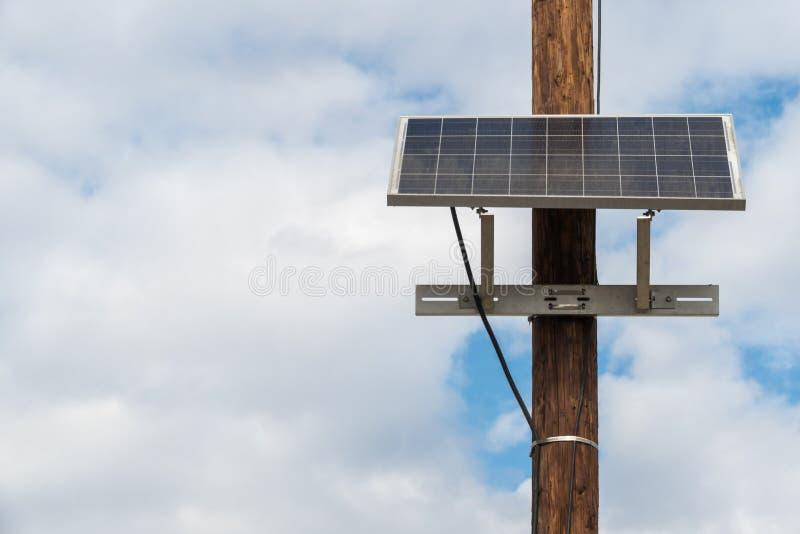 Solar Panel on telephone pole stock images