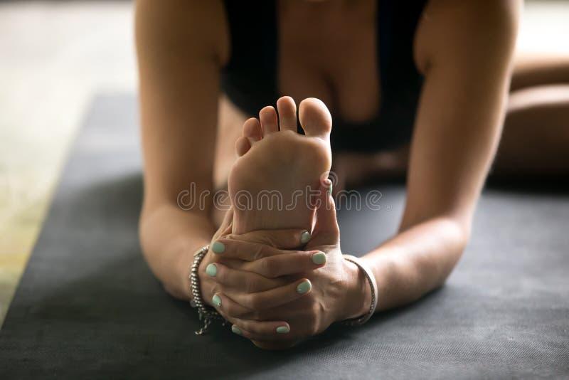 Close up sole image for Janu Sirsasana pose stock photography