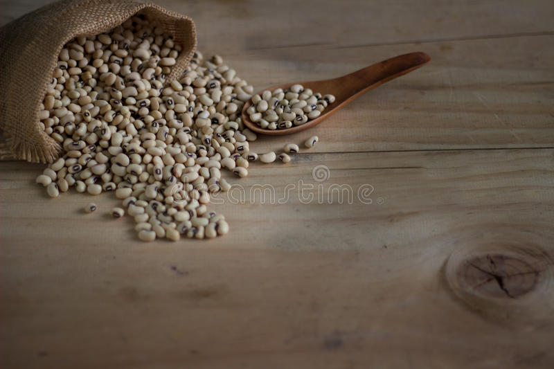 Close up is some soybeans with wooden /Still life stock image