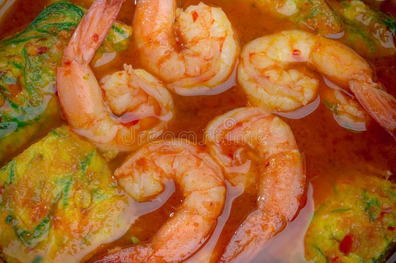 Close up Sour soup with shrimp and Acacia Pennata omelette stock photography