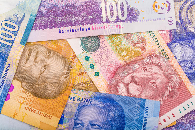Close up of South African currency the Rand. Isolated on white background stock image