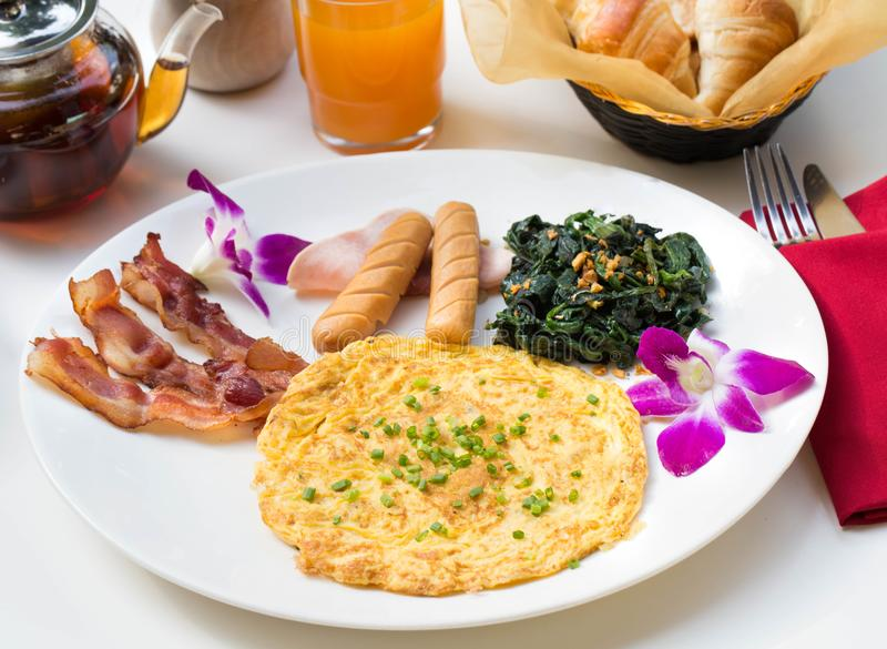 Close up Spanish Breakfast set with nice decoration. stock photo