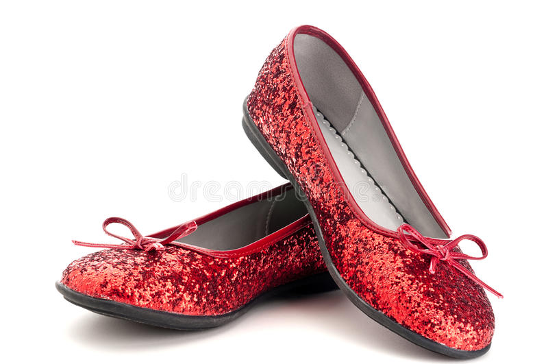 Close up of sparkling red slippers. Horizontal close up of sparkling red slippers