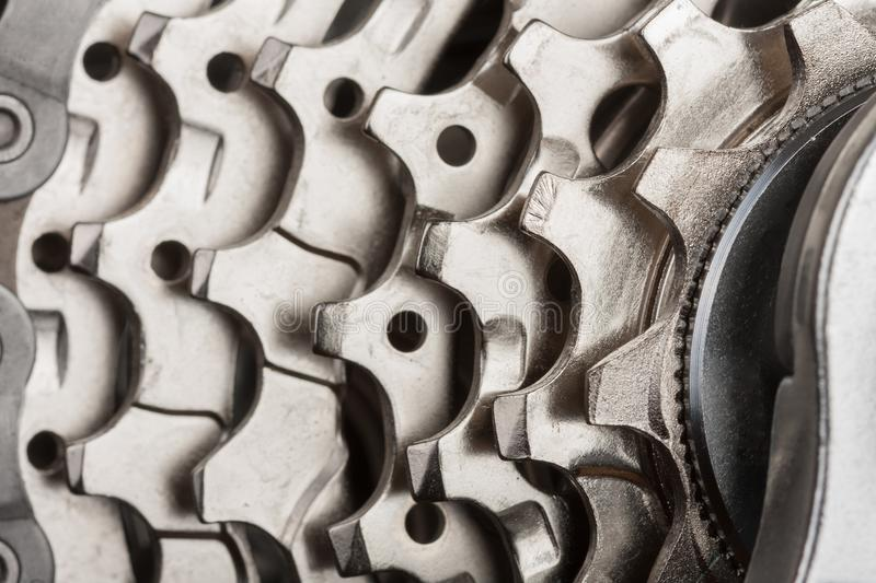 Close up of 9-speed cassette on rear wheel of bike, studio phot royalty free stock photography