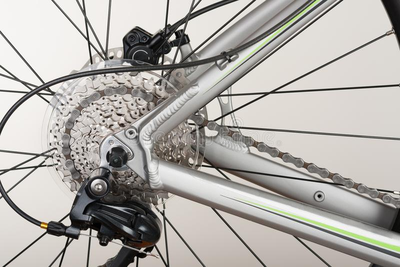 Close up 9-speed cassette on rear wheel of bike, studio photo. stock photos