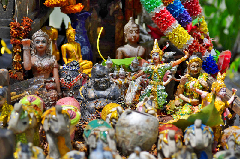 Close-up of a spirit house in Bangkok royalty free stock photography