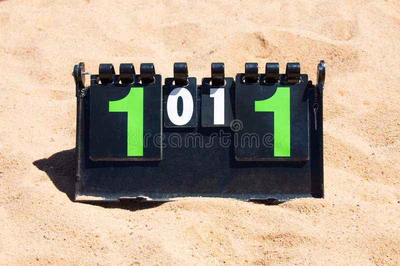 Close up of sport volleyball scoreboard on the summer sand. royalty free stock photo