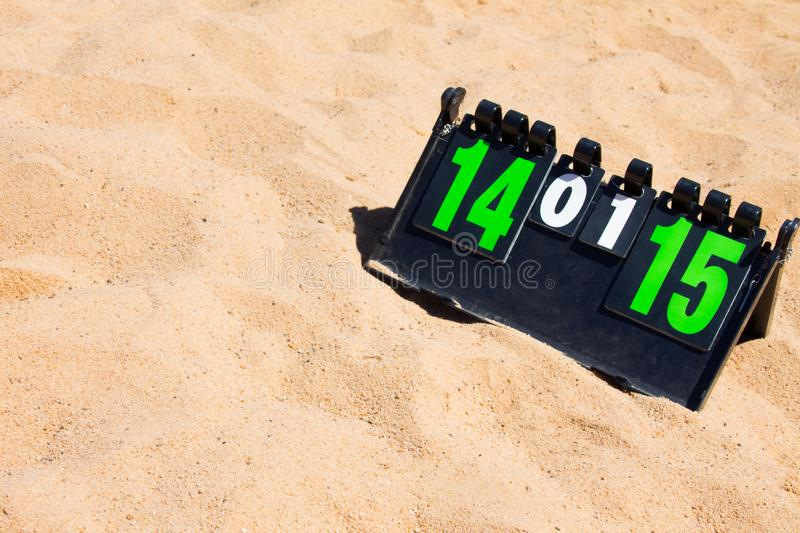 Close up of sport volleyball scoreboard on the summer sand. Score of valleyball game, free place for text, copyspace royalty free stock images
